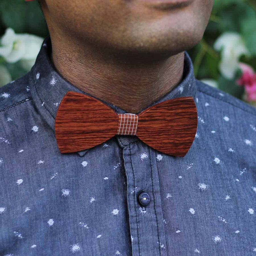 Bow Ties - The Riba - Red Wooden Bow Tie - Blue plaid