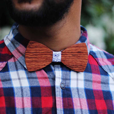 Bow Ties - The Riba - Red Wooden Bow Tie - Blue paisley