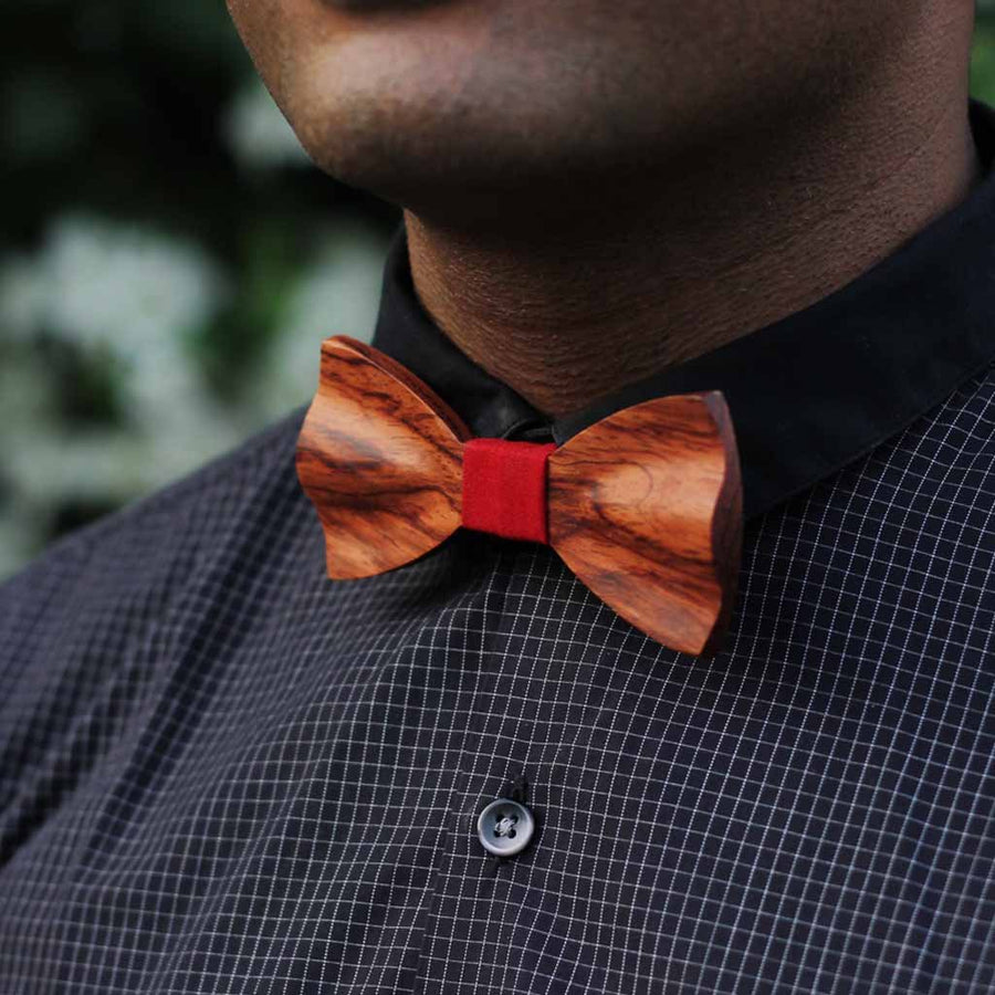 Bow Ties - The Mukherjee - Red Wooden Bow Tie - Brown paisley