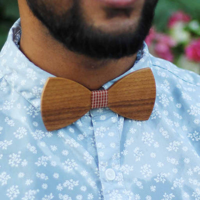 Bow Ties - The  Deshpande - Brown Wooden Bow Tie - Brown plaid