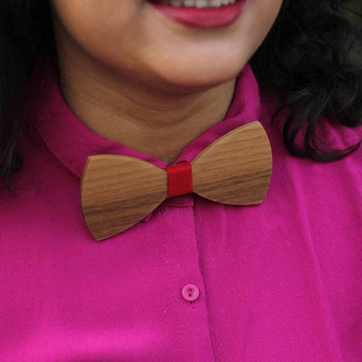 Bow Ties - The  Deshpande - Brown Wooden Bow Tie - solid red