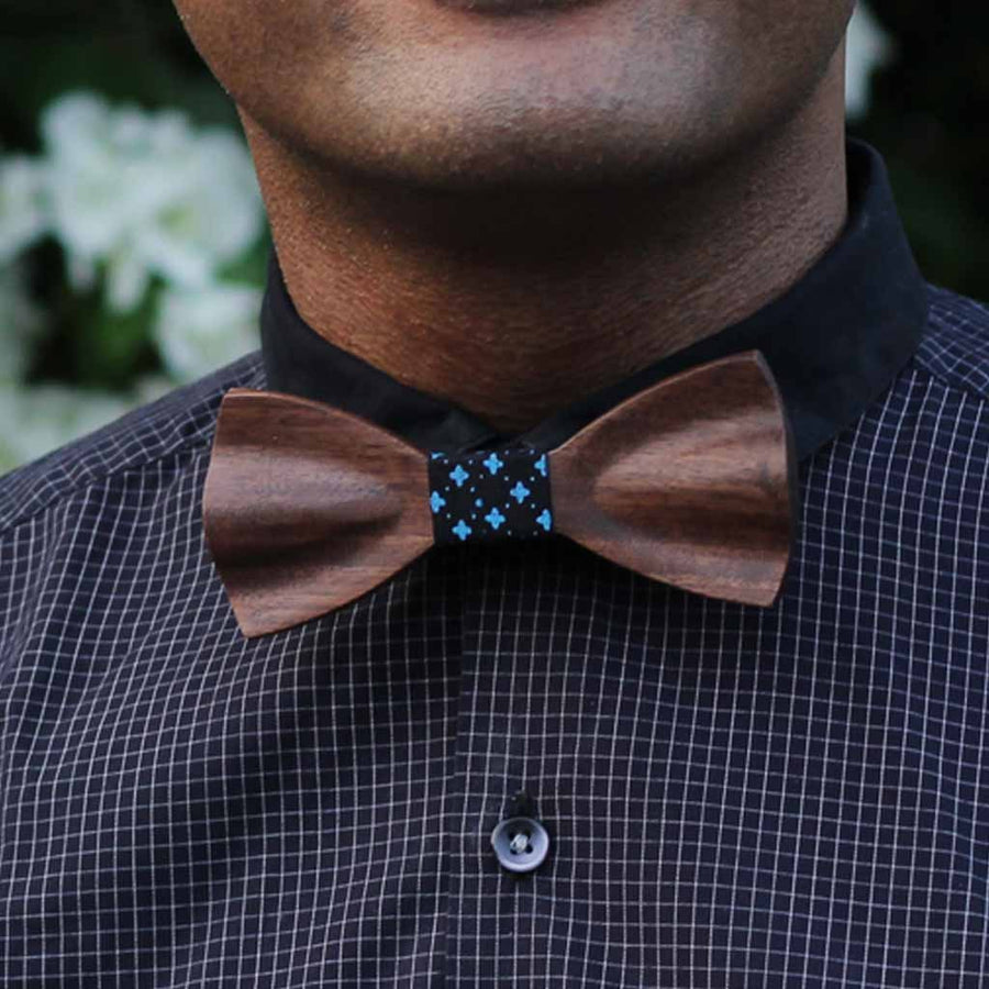Bow Ties - The Iyengar - Brown Wooden Bow Tie - Red Plaid