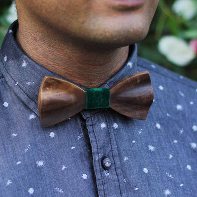 Bow Ties - The Iyengar - Brown Wooden Bow Tie - solid green