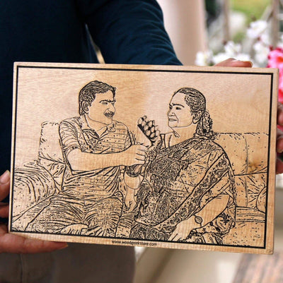 Wood Engraved Photo Poster As Gifts For Mom And Dad. This Customised wooden frame is the best anniversary gift for mom and dad or gifts for parents.
