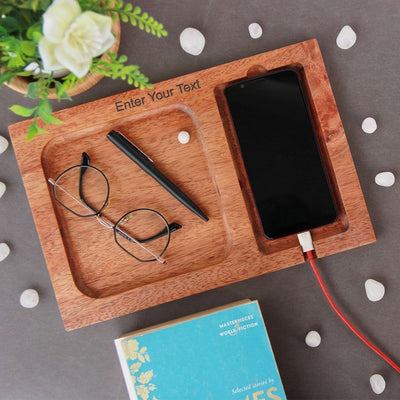 Wood valet tray with charging station & phone tray. Mens Valet Tray & Phone Tray. This Valet Tray Is The Best Gift For Men. EDC Vallet Tray Makes a Great Gift For Husband, Gift for Dad, Gift for Boyfriend Or Gift For Brother. This wooden tray can be personalized with name.