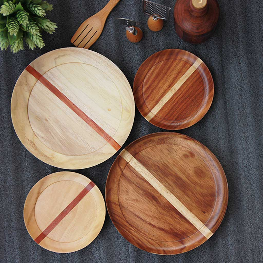 dinnerware set of 4 - 2 wooden dinner plates and 2 side plates by woodgeek store