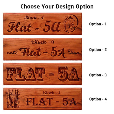 Wooden Address Signs for Home - Personalized Signs For Home Engraved With House number & Flat Number - House Nameplates by Woodgeek Store