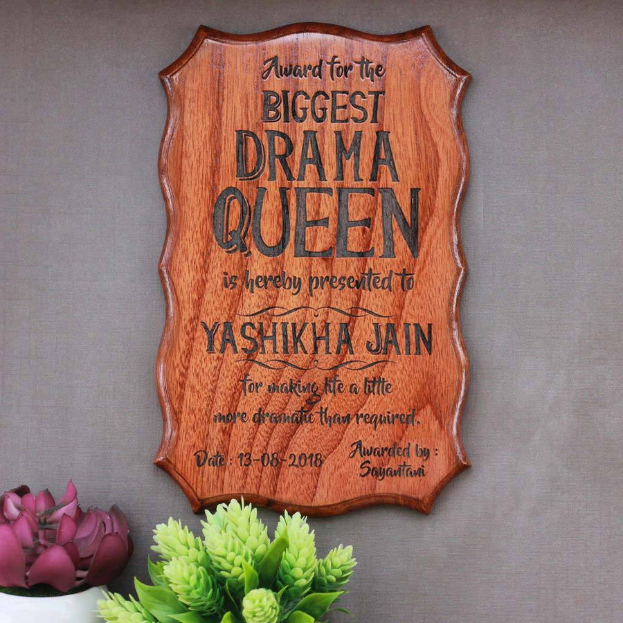 The Biggest Drama Queen or Drama King Award Certificate - Custom Certificate in Wood - Funny Certificates for Friends by Woodgeek Store