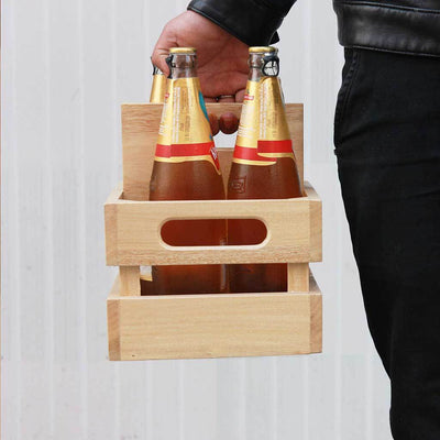 Wooden 4 Pack Beer Carrier - Wooden Beer Caddy - Wooden Beer Bottle Holder - Beer Gifts - Beer Holder - Beer Carrier - 4 Pack Beer Bottle Carrier - Bar Accessories - Woodgeek Store
