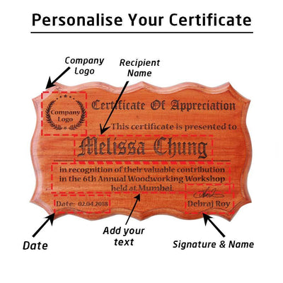 Wooden Certificate Of Appreciation. This Personalized Award Makes The Best Corporate Gift For Colleagues. Buy More Corporate Gifts Online From The Woodgeek Store.