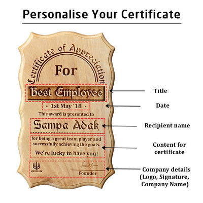 Wooden Certificate of Appreciation for Best Employee