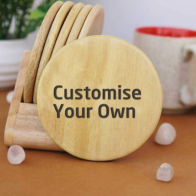 Custom Coasters. Personalised Coasters Engraved With Text. Wooden Coaster Set Of 6. Round Coasters. These Personalized Coasters Can Be Used As Tea Coasters, Coffee Coasters or other Drinks Coasters. Buy Coasters Online at Woodgeek Store.