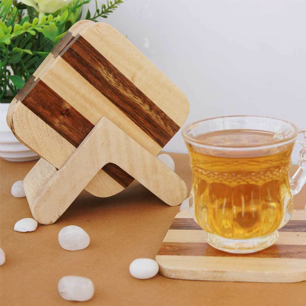 Striped Wooden Coasters. These Table Coasters Come In A Coaster Set Of 6. These Custom Coasters Can Be Used As Coffee Coaster, Tea Coaster or Any Other Drinks Coaster. Buy Coasters Online at Woodgeek Store.