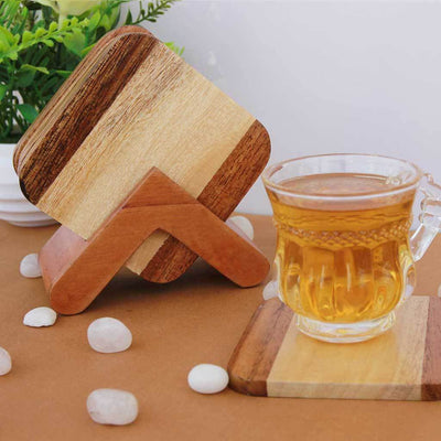 Two Tone Wooden Coasters. These Personalized Coasters Come In A Set Of 6. This Table Coaster Set Can Be Used As Coffee Coaster, Tea Coaster or Any Other Drinks Coaster. Buy Coasters Online at Woodgeek Store.