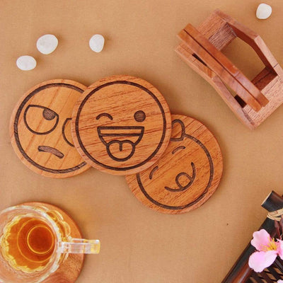 Emoji Coasters. Wooden Coasters With Wooden Coaster Holder. This Coaster Set is a great Home decor gift and housewarming gift.