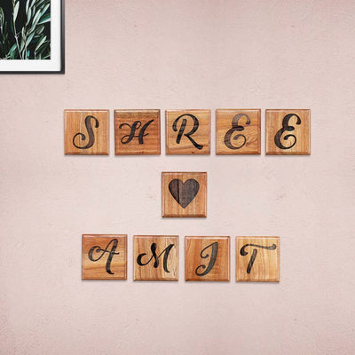 Crossword Wall Art - Large Scrabble Tiles Personalized With Names - Wall Decor for Home by Woodgeek Store