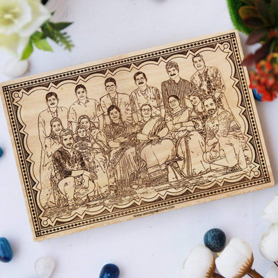 Wood Engraved Photo Poster For Family. This family photo on wood is one of the best personalized gifts for grandparents. Wooden plaque engraved with family photo is one of the best family gifts