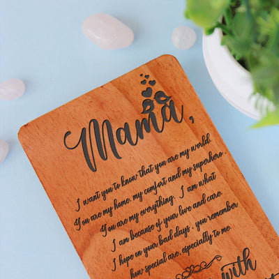 Greeting Card For Mother & Mothers Day Cards. This Set Of Personalized Wooden Cards makes perfect mothers day greeting cards, birthday card for mother or a greeting card for mother for any occasion.