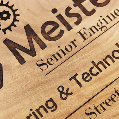 Custom Name Plates For Engineers - Hanging Wooden Sign