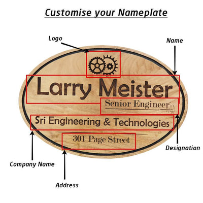 Wooden Name Plates For Engineers. Hanging Engineer Sign.