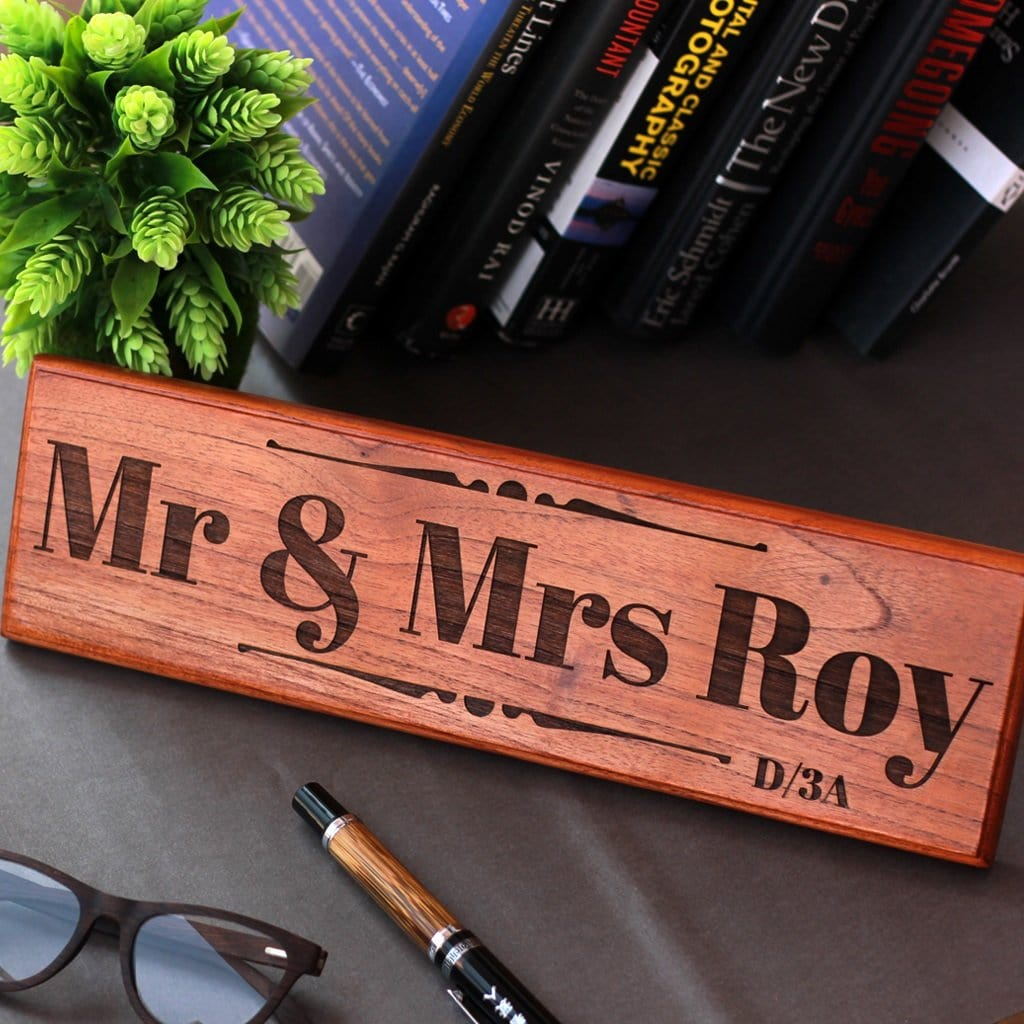 Mr & Mrs Wooden Sign - Wooden Office Desk Nameplates - Personalized House Number Sign by Woodgeek Store