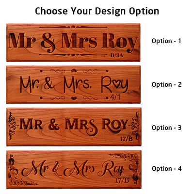 Mr & Mrs Wooden Nameplates by Woodgeek Store