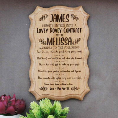 Personalized Wooden Certificate Of Love For Your Girlfriend Or Wife - This Award Certificate Makes One Of The Best Gifts For Wife Or Girlfriend - Looking For Unique Gifts for Girlfriend Or Wife ? This Custom Certificate Is A Perfect Gift For Her On Valentine's Day Gifts Or For Any Special Occasion