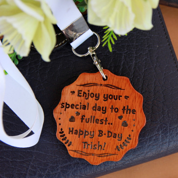 Custom Wooden Medal Engraved With A Birthday Wish