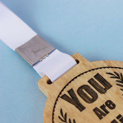 Wooden Medal with Ribbon