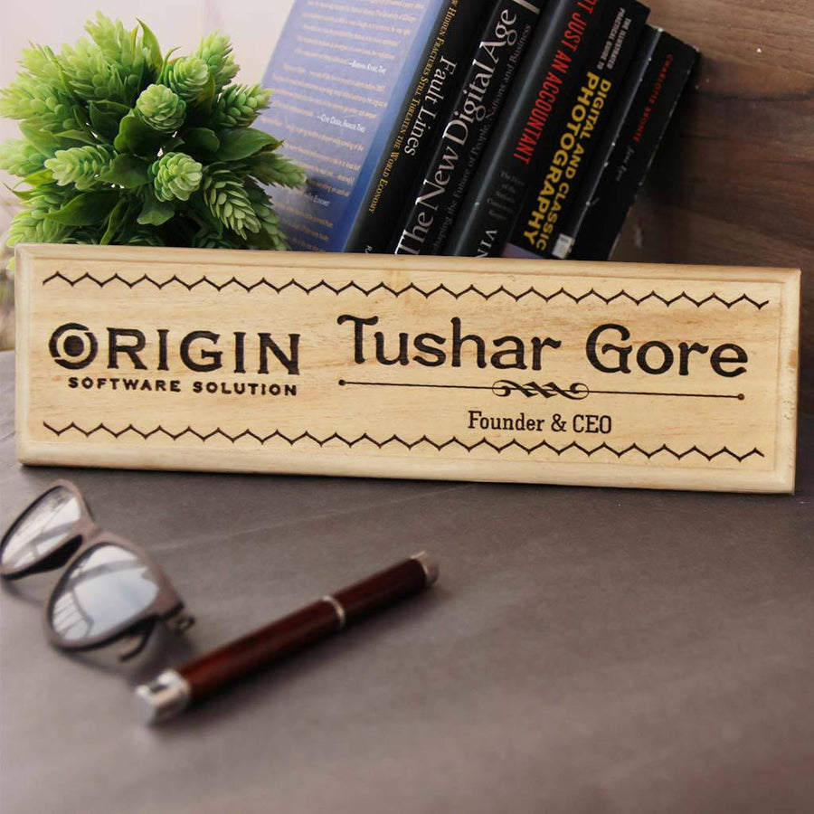 Office Desk Nameplates For Founders And CEO - Wood Engraved Custom Desk Nameplates with a name and designation by Woodgeek Store
