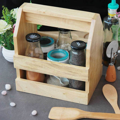 A Wooden Condiment Holder Is A Must-Have Kitchen Accessory. This Condiment Caddy and Spice Organizer Is The Best Gifts For Mom Or Gifts For Chefs.