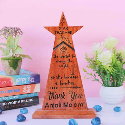 Star Teacher Wooden Trophy - Teachers Day Gift for your favourite teacher. The best teacher award makes unique teachers day gift ideas. This is the best gift for teachers day or birthday gift for teacher.