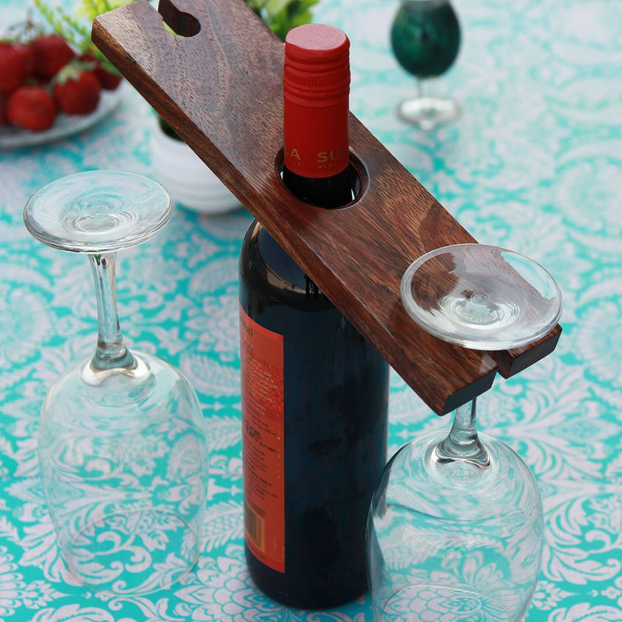 Wooden Wine Bottle & Glass Holder - Wood Wine Caddy - Wood Wine Caddy with Glasses - Wine Glass Caddy - Wine Accessories - Bar Accessories - Wine Gifts - Woodgeek Store