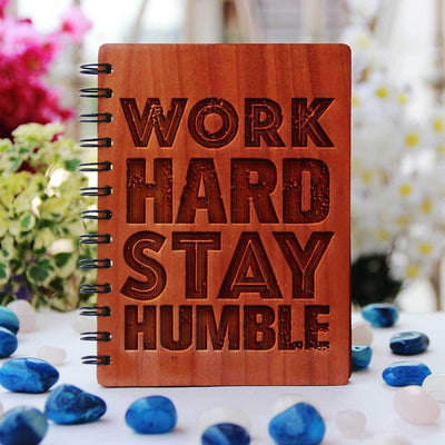Inspirational Notebook - Motivational Journals - Wooden Notebook - Personalized Notebooks - Work Hard. Stay Humble - Bamboo Wood Notebook