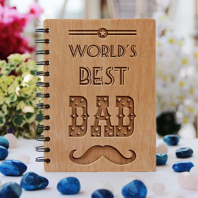 Notebook - World's Best Dad - Bamboo Wood Notebook
