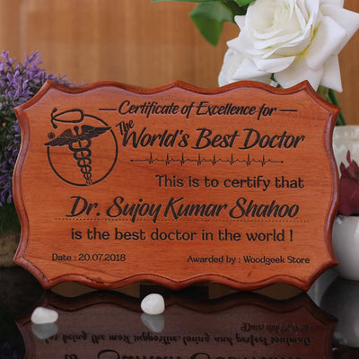 Certificate of Excellence for The World's Best Doctor - Certificate of Recognition - Certificate of Appreciation - Custom Wooden Certificate by Woodgeek Store