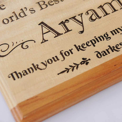 The World's Best Secretkeeper Wooden Plaque. This wooden trophy and award plaque makes great personalised gifts for friends. This is the perfect friendship day gifts for best friend.