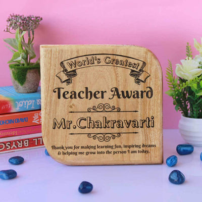World's Greatest Teacher Award Wooden Plaque. These Custom Trophies make great Teacher Appreciation Gifts. This is a cool Teacher's Day Gift for your Favourite Teacher.