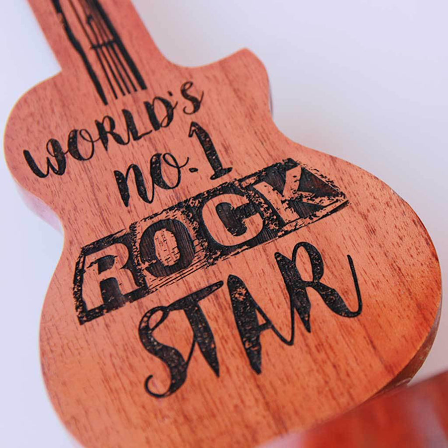 World's No. 1 Rockstar Award & Trophy.  These Custom Trophies Come In The Shape Of A Guitar. This makes Unique Gifts For Musicians. Best Gift For Music Lover Boyfriend.