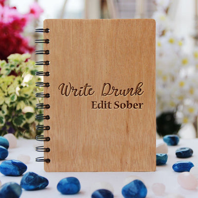 Write Drunk Edit Sober - Ernest Hemingway Quotes - Writer's Journal Book - Engraved Notebook - Unique Wooden Gifts - Wood Cover Journal - Woodgeekstore