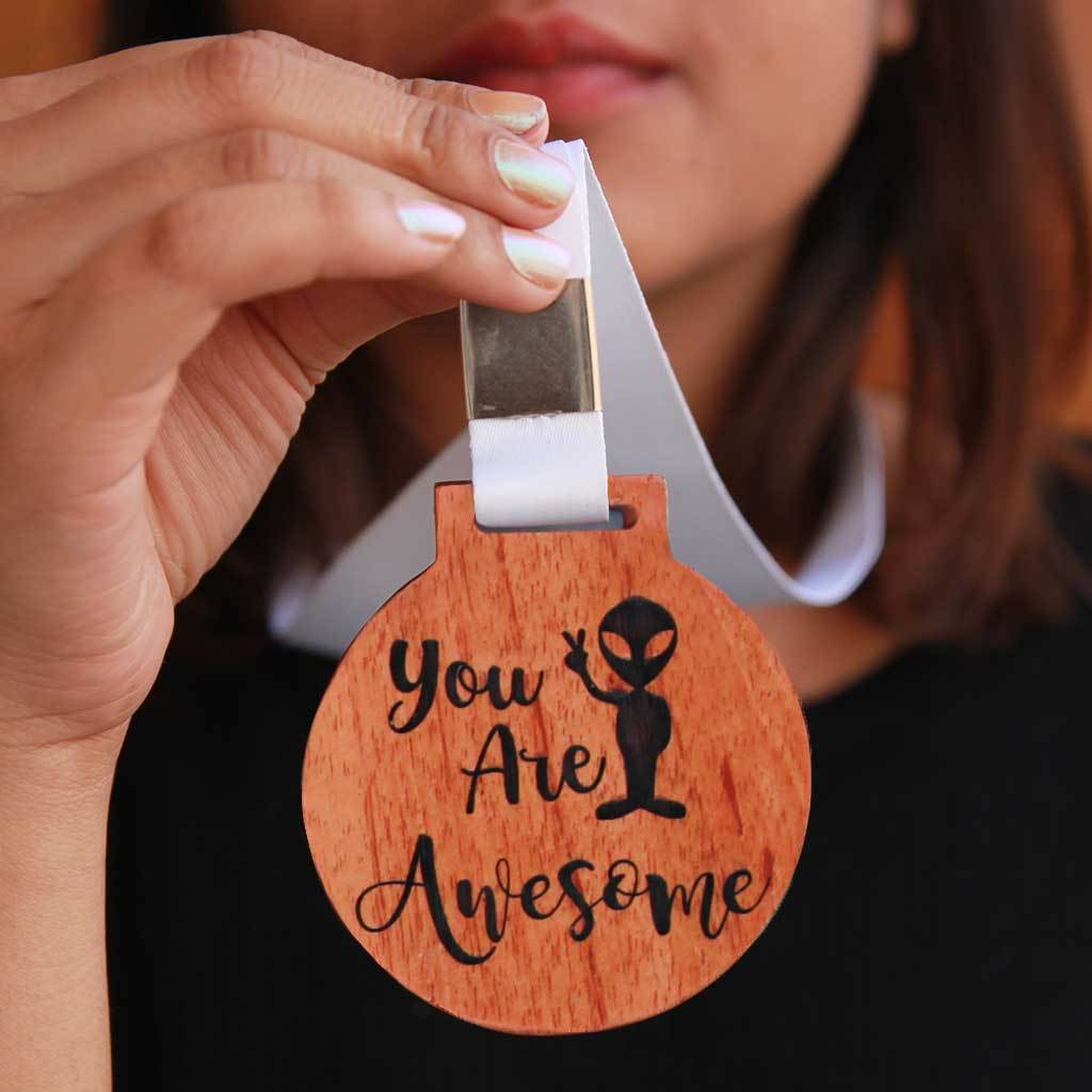 You Are Awesome Wooden Medal With Ribbon - Funny Medal Engraved on Birch Wood or Mahogany Wood - This makes perfect Gifts For Friends and Best Employee Appreciation Gifts