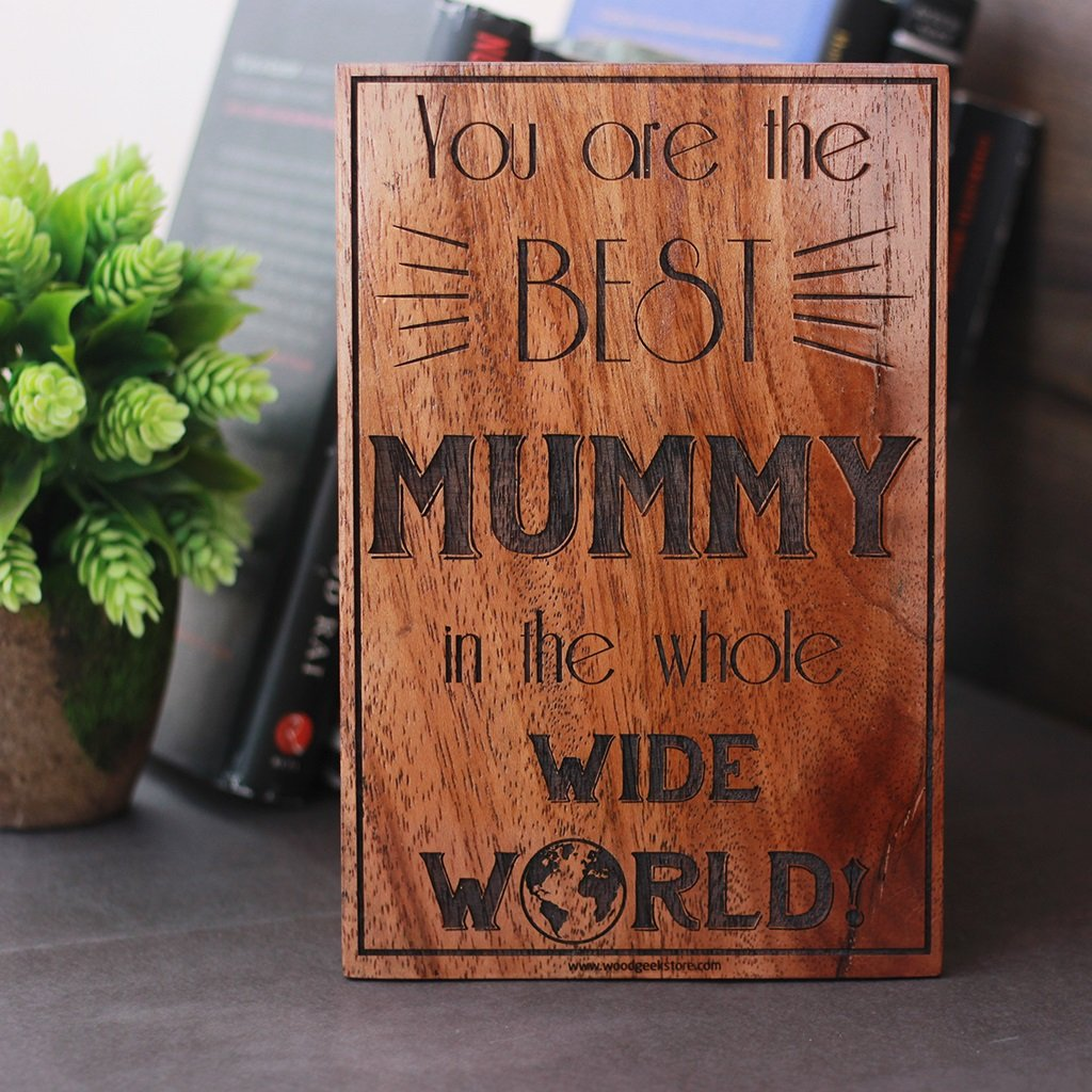 Best Mummy Wood Sign - Wooden Plaque For Mom - Gifts for Mom by Woodgeek Store