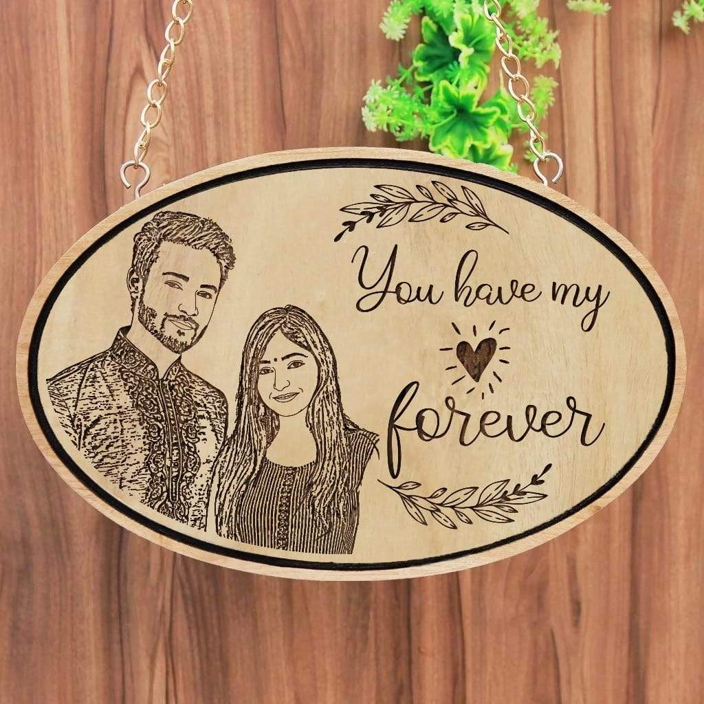 You Have My Heart Forever Hanging Sign - Photo On Wood - Wood Engraved Photo - Buy Photo Gifts At Woodgeek Store - Best Anniversary Gifts