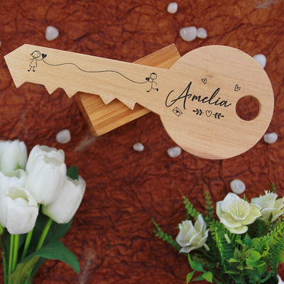 Key-Shaped Wooden Signs Engraved With Name On The Back Of The Key. This romantic gift is a great personalized gift for boyfriend or girlfriend. This photo gift is also a great anniversary gift and Valentines Day gift.