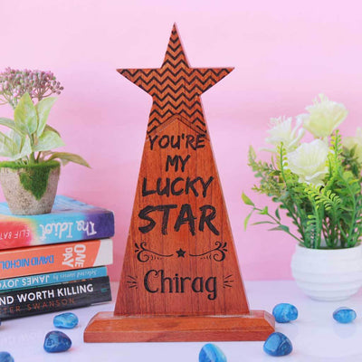 You're My Lucky Star Award Trophy. These custom trophies is the best gift for boyfriend, girlfriend, wife or husband. This Wooden Star Trophy can be personalized with a name.