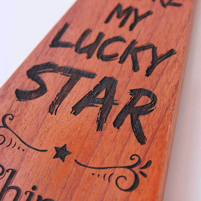 You're My Lucky Star Wooden Award Trophy. These custom award plaques make  cool gifts. Engraved Trophy Plates for the lucky one in your life.