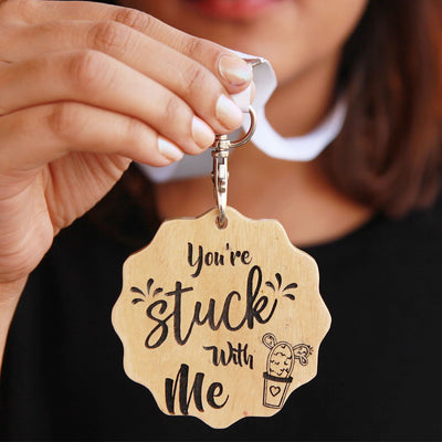 You're Stuck With Me Wooden Medal - Funny Medal Awards For Your Partner, Friends or Family - Medal With Ribbon - This is a unique gift for the person you love