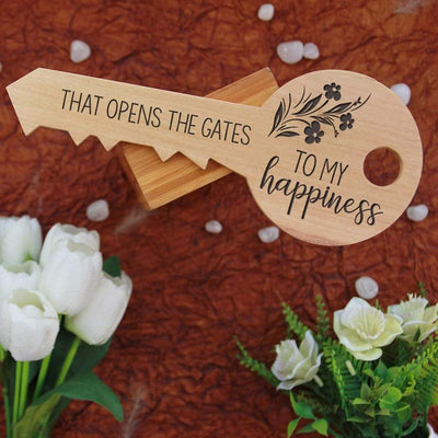 Your love is the master key that opens the gates to my happiness. This is the back of a key-shaped wooden sign. These key-shaped wooden signs make unique gifts for boyfriend, romantic gifts for girlfriend, best gift for wife, birthday gifts for husband, anniversary gifts or Valentine's Day gifts. These personalised wooden plaques can be customized with wood engraved photo and name.