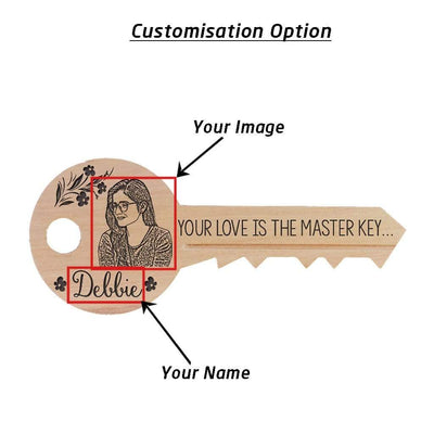 Custom Wood Signs In The Shape Of A Key With Front and Back Engraving. Personalised Wooden Plaques With Photo & Name.