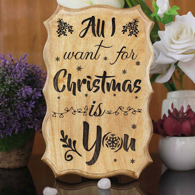 All I Want For Christmas Is You - Carved Wooden Signs With Sayings - Unique Christmas Gifts by Woodgeek Store - Christmas Present Ideas - Rustic Wood Signs